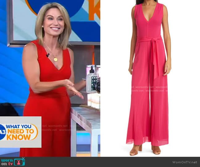 Deep V-neck Tulle Suit by Fuzzi worn by Amy Robach  on Good Morning America