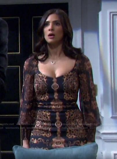 Gabi's black printed dress on Days of our Lives