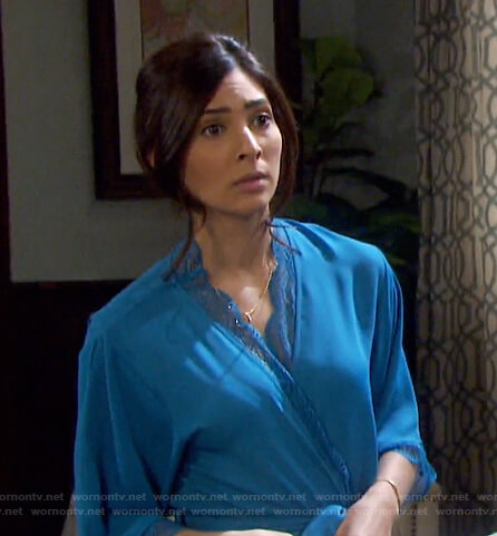 Gabi's blue lace-trim robe on Days of our Lives