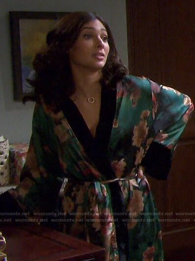 Gabi's green floral robe  on Days of our Lives