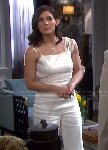 Gabi's white jumpsuit on Days of our Lives