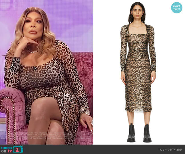 Ruched Leopard-Print Mesh Midi Dress by Ganni worn by Wendy Williams  on The Wendy Williams Show