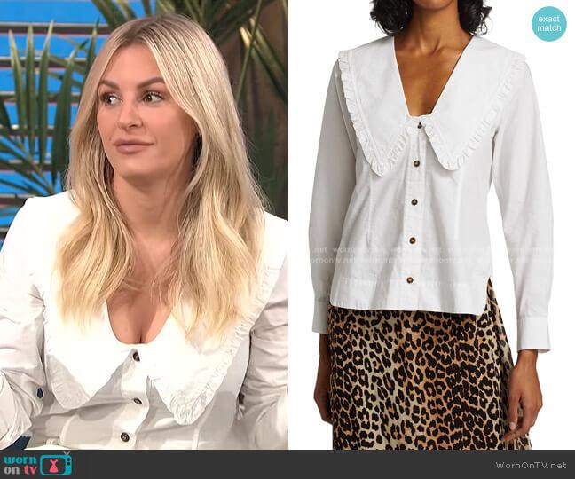 Wide Ruffle-Trimmed Collar Cotton Poplin Shirt by Ganni worn by Morgan Stewart  on E! News