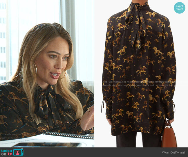 High-Neck Horse-Print Silk-Satin Mini Dress by Ganni worn by Kelsey Peters (Hilary Duff) on Younger