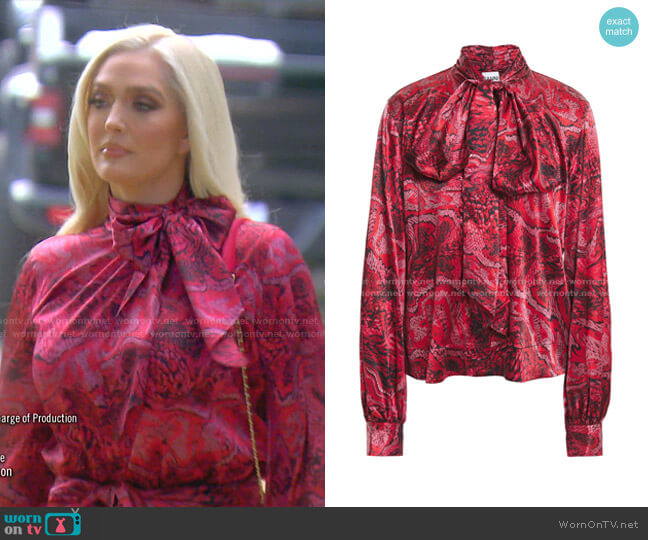 Pussy-Bow Printed Blouse by Ganni worn by Erika Jayne  on The Real Housewives of Beverly Hills