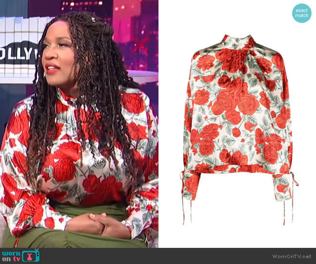 Floral-Print Tied-Cuffs Blouse by Ganni worn by Kym Whitley  on E! News
