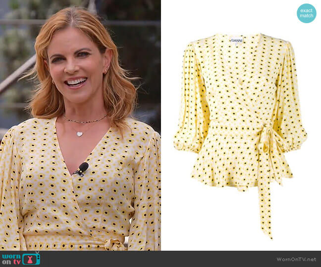 Floral Print Wrap Blouse by Ganni worn by Natalie Morales  on Today