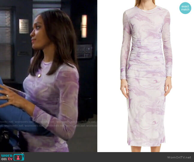 Marble Print Long Sleeve Mesh Midi Dress by Ganni worn by Lani Price (Sal Stowers) on Days of our Lives
