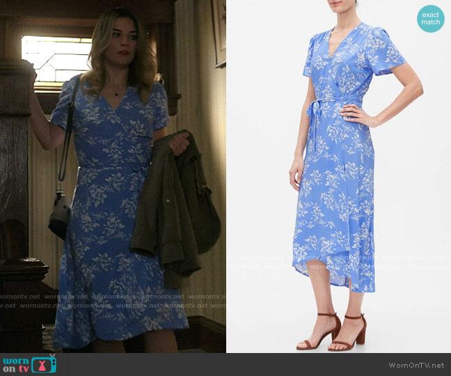 Gap Print Midi Wrap Dress worn by Allison (Annie Murphy) on Kevin Can F**k Himself
