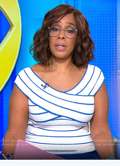 Gayle King's blue and white striped top on CBS This Morning