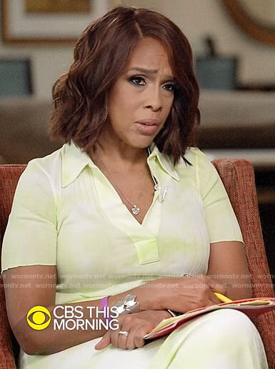 Gayle King's lime green tie dye polo dress on CBS This Morning
