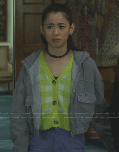 George's yellow check cardigan and grey cropped hooded jacket on Nancy Drew
