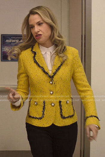 Georgina's yellow tweed blazer with pearl buttons on Love Victor