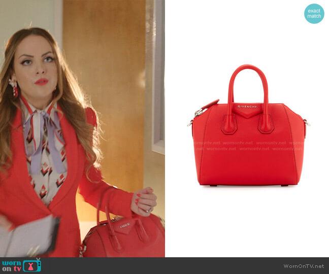 Antigona Mini Sugar Satchel Bag by Givenchy worn by Fallon Carrington (Elizabeth Gillies) on Dynasty