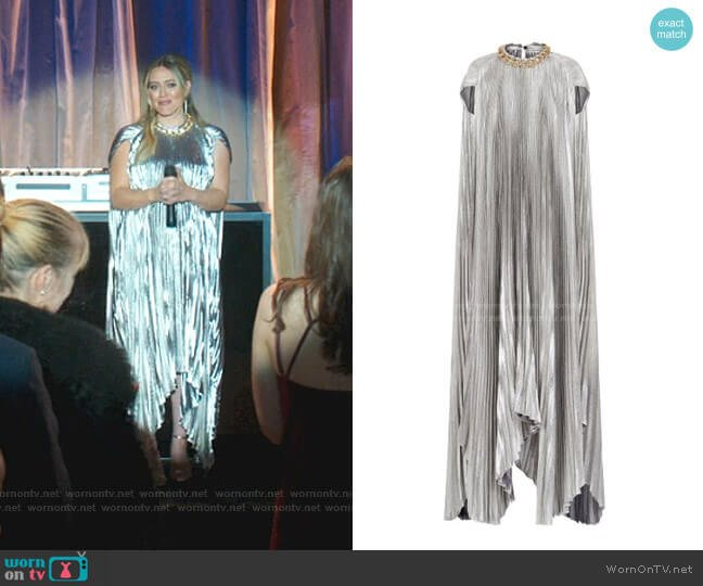 Chain-Detailed Pleated Silk-Blend Lame Cape Dress by Givenchy worn by Kelsey Peters (Hilary Duff) on Younger