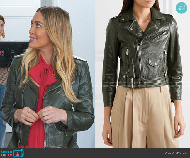 Cropped Textured-leather Biker Jacket by Givenchy worn by Kelsey Peters (Hilary Duff) on Younger