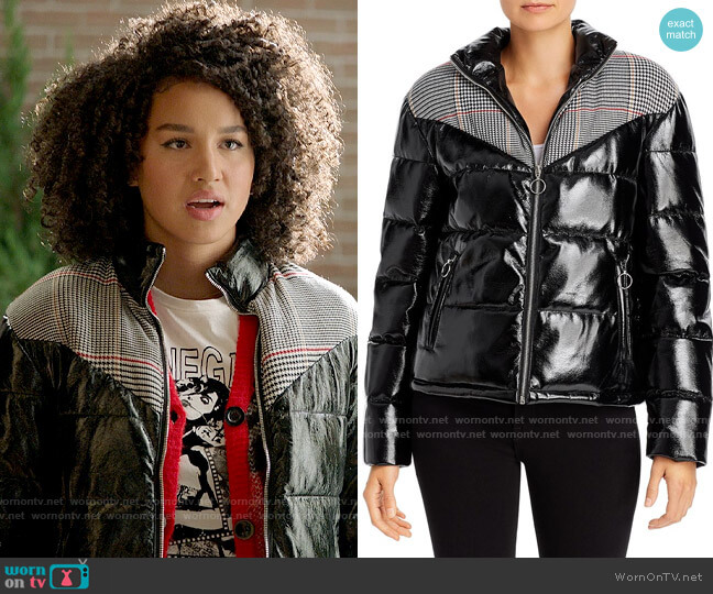 Glamorous Plaid-Panel Faux Patent Leather Puffer Jacket worn by Gina (Sofia Wylie) on High School Musical The Musical The Series