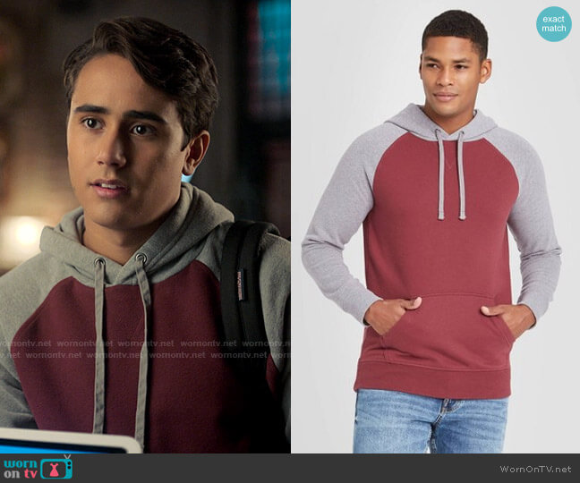 Goodfellow & Co aat Target Colorblock Fleece Pullover Hoodie worn by Victor Salazar (Michael Cimino) on Love Victor