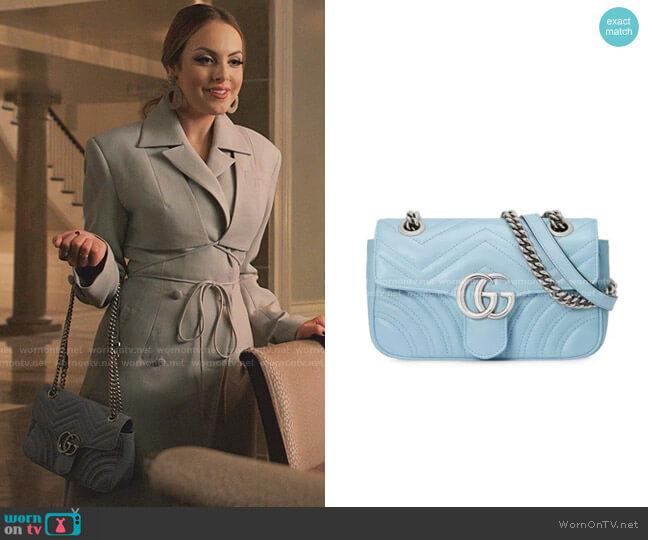 GG Marmont Matelassé Mini Bag by Gucci worn by Fallon Carrington (Elizabeth Gillies) on Dynasty