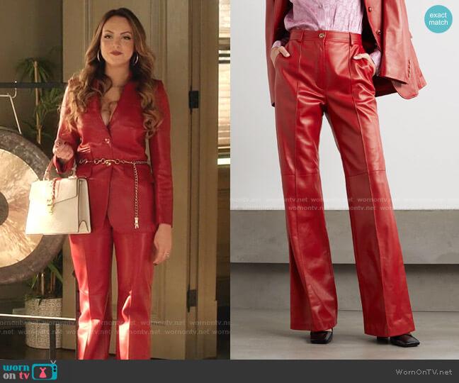 Leather straight-leg pants by Gucci worn by Fallon Carrington (Elizabeth Gillies) on Dynasty
