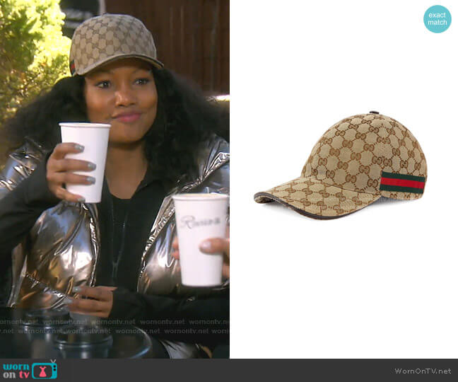 Original GG Canvas Baseball Hat with Web by Gucci worn by Garcelle Beauvais  on The Real Housewives of Beverly Hills