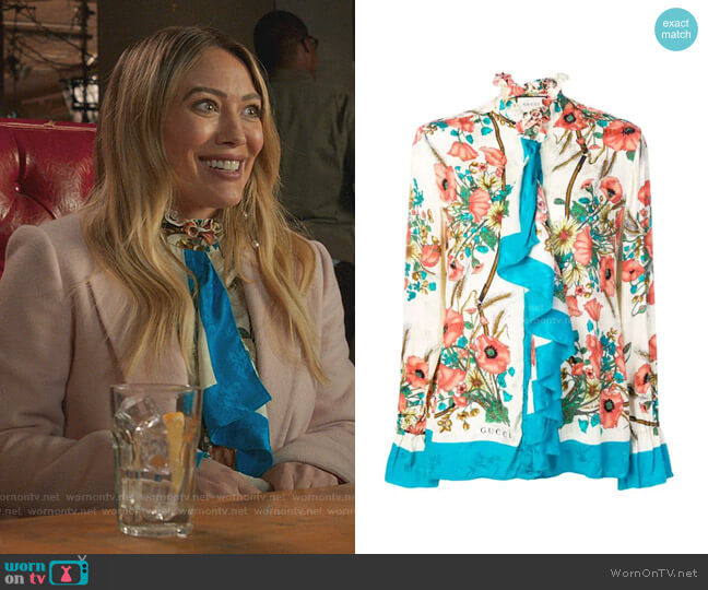 Ruffled Floral-Print Silk-Jacquard Blouse by Gucci worn by Liza Miller (Sutton Foster) on Younger
