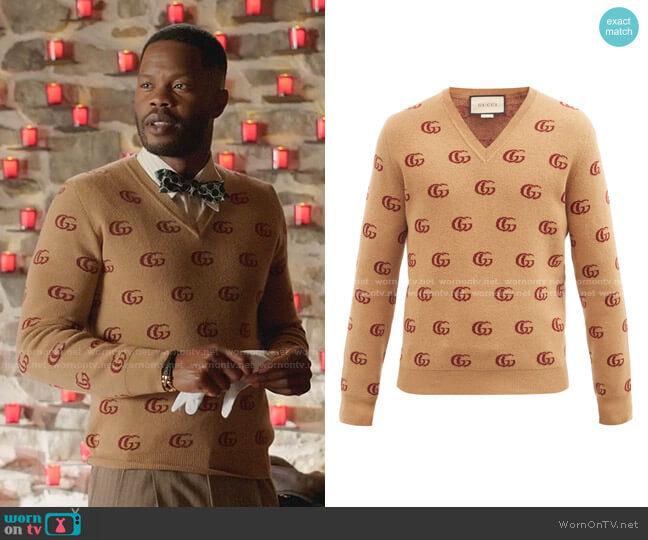 V-neck GG-Jacquard Wool Sweater by Gucci worn by Jeff Colby (Sam Adegoke) on Dynasty