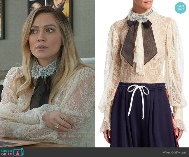 Lace Contrast Tie Neck Blouse by Gucci worn by Kelsey Peters (Hilary Duff) on Younger