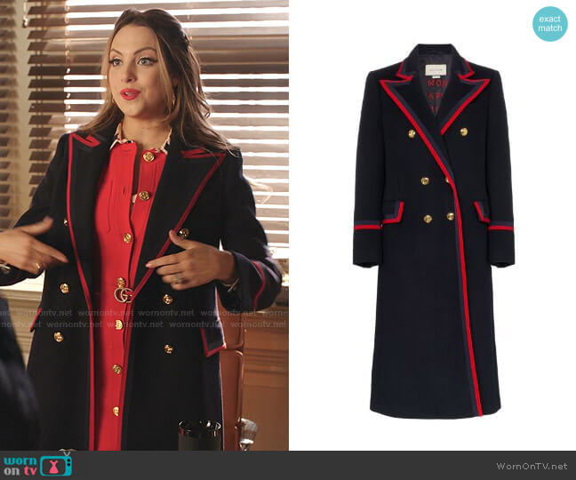 Contrast Trim Double-Breasted Military Coat by Gucci worn by Fallon Carrington (Elizabeth Gillies) on Dynasty