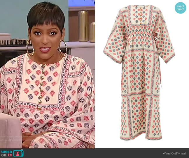 Floral cotton-blend jacquard kaftan dress by Gucci worn by Tamron Hall  on Tamron Hall Show