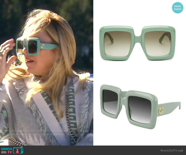 Oversized Square Sunglasses by Gucci worn by Sutton Stracke  on The Real Housewives of Beverly Hills