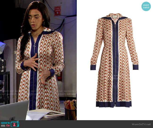 Gucci Guns Print Zip Through Dress worn by Zoe (Kiara Barnes) on The Bold & the Beautiful