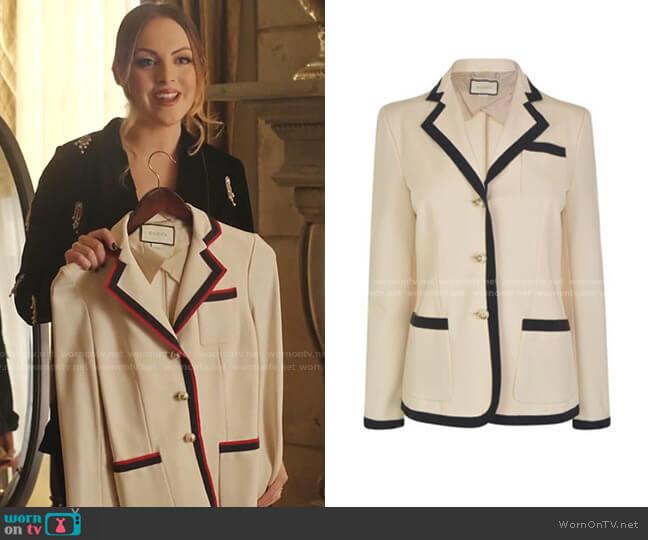 Web Trim Blazer by Gucci  worn by Fallon Carrington (Elizabeth Gillies) on Dynasty