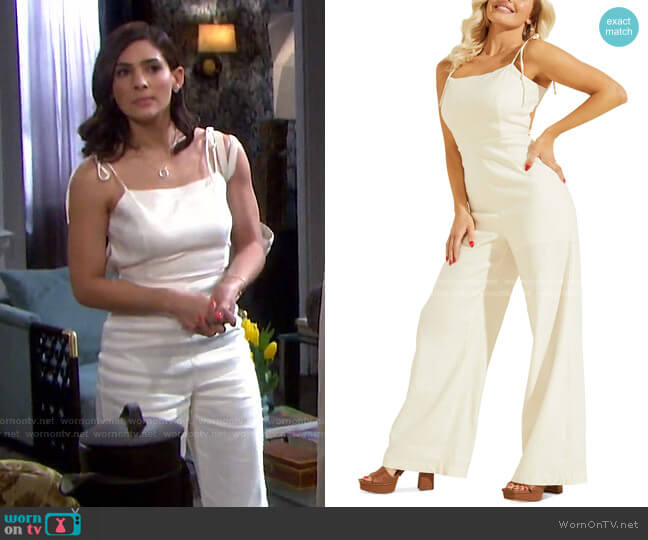 Kora Backless Jumpsuit by Guess worn by Gabi Hernandez (Camila Banus) on Days of our Lives