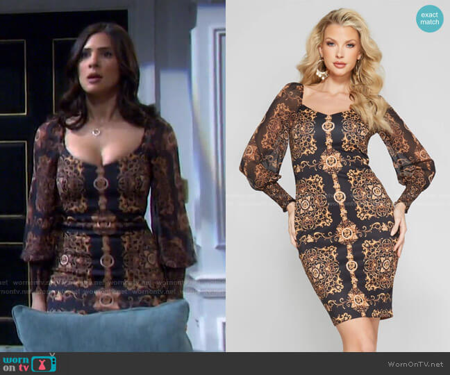 Victoriana Bodycon Dress by Guess worn by Gabi Hernandez (Camila Banus) on Days of our Lives