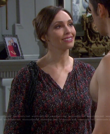 Gwen's floral button down blouse on Days of our Lives