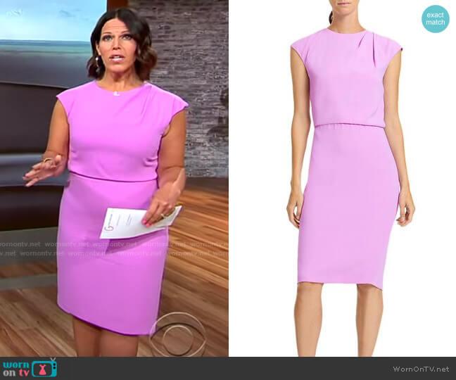 Halston Pleated Neck Pencil Dress worn by Dana Jacobson  on CBS Mornings