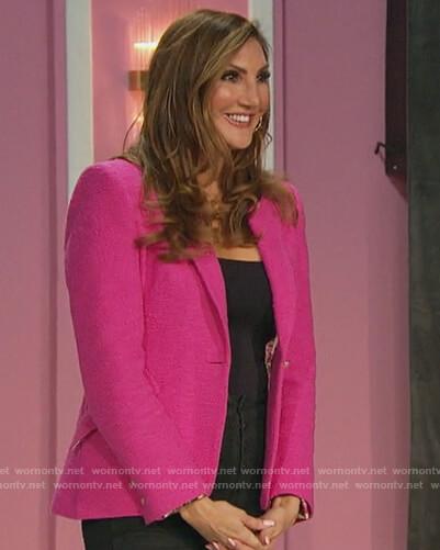 Tayshia's denim fringe trim jacket on The Bachelorette