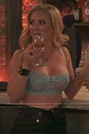 Heidi's blue bra and leather skirt on The Hills New Beginnings