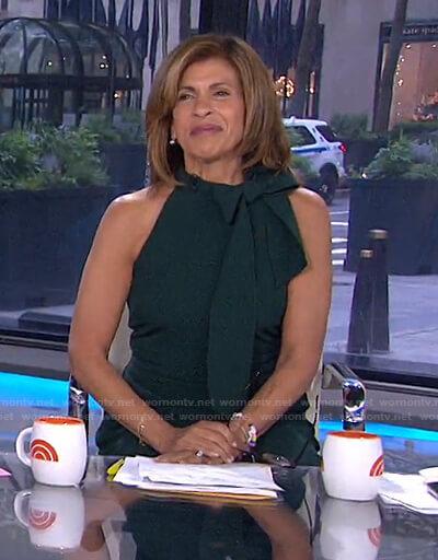 Hoda's green tie neck jumpsuit on Today