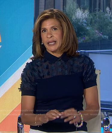 hoda's navy floral embellished top on Today