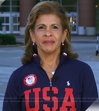 Hoda's navy and red USA track jacket on Today