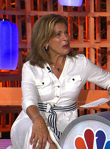 Hoda's white shirtdress with striped belt on Today