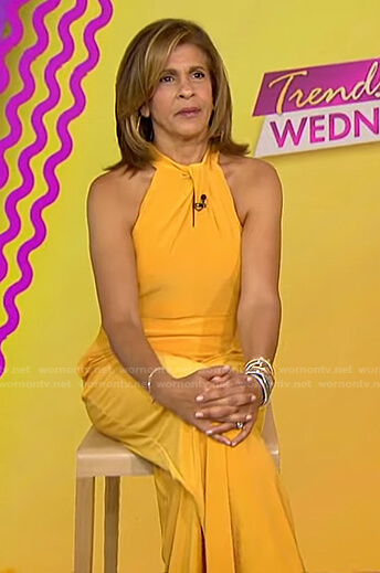 Hoda's yellow halter neck jumpsuit on Today