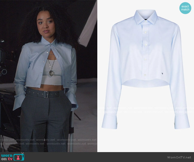 X Browns 50 Cropped Cotton Shirt by Homme Girls worn by Kat Edison (Aisha Dee) on The Bold Type