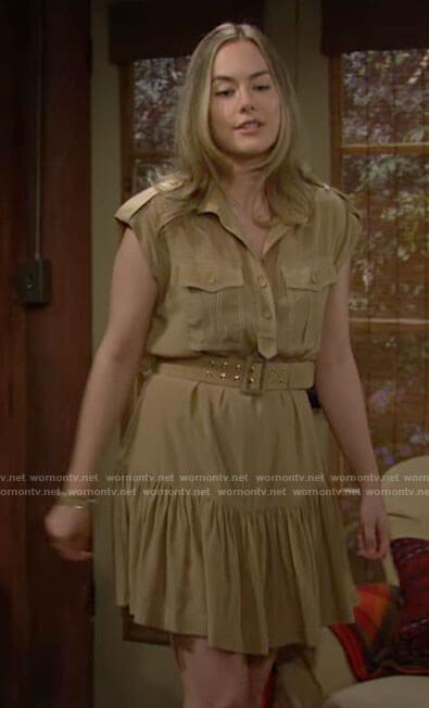 Hope's khaki shirtdress on The Bold and the Beautiful