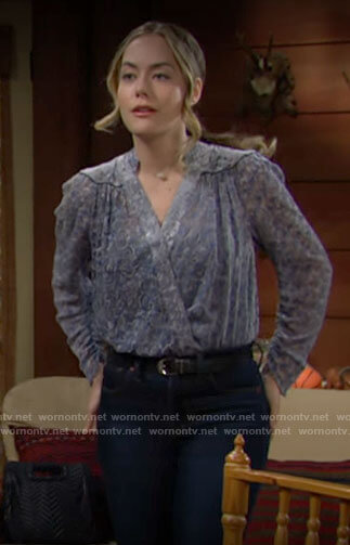 Hope's blue paisley velvet blouse on The Bold and the Beautiful