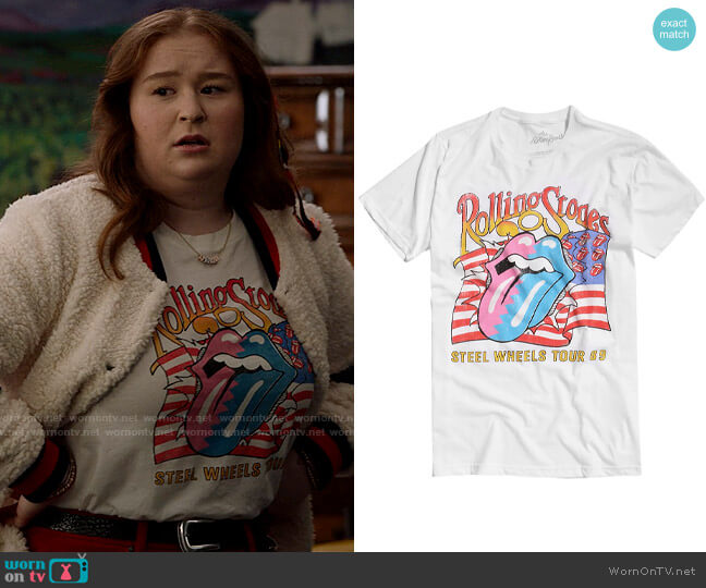 Hot Topic The Rolling Stones Steel Wheels Tour T-Shirt worn by Ashlyn (Julia Lester) on High School Musical The Musical The Series