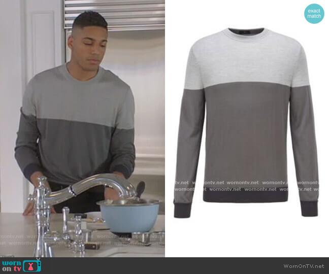 Gray Colorblock Sweater by Hugo BOSS
