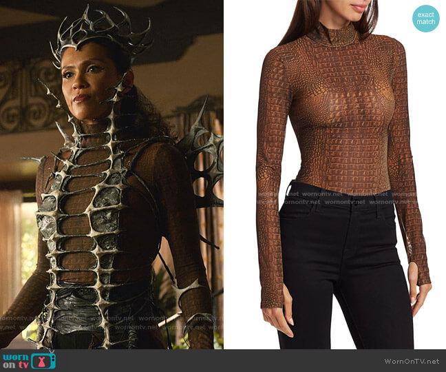 Kenzie Croc-Print Turtleneck Bodysuit by I AM GIA worn by Mazikeen (Lesley-Ann Brandt) on Lucifer